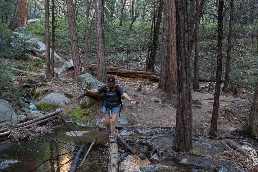 Debbie crossing a seasonal creek